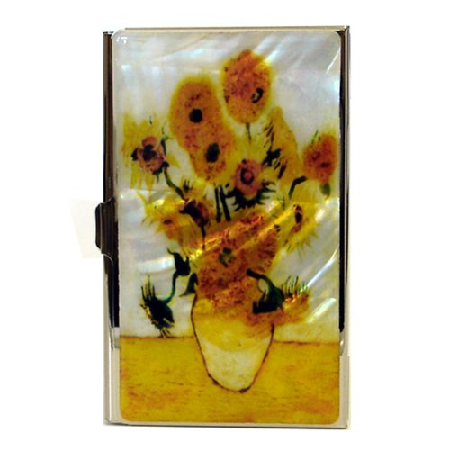 Mother of Pearl Sunflowers by Van Gogh Art Painting Design Business Credit Name Card Holder Case Metal Stainless Steel Engraved Slim Purse Pocket Cash Money Wallet