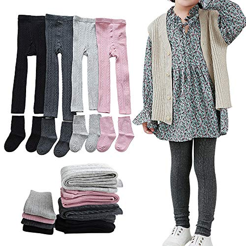Girls Leggings Baby Toddler Tights Stockings Cable Knit Cotton Pants - 4 Pack Footless Tights & 4 Pairs Socks (2-4 Years)