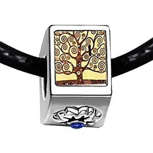 Chicforest Silver Plated The Tree Of Life Painting Photo Sapphire Crystal September Birthstone Flower Charm Beads Fits Pandora Bracelet