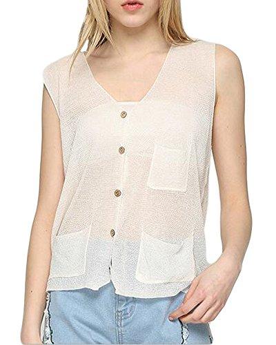 Sunfan Women's Lightweight Linen Knit Sleeveless Sweater Vest,OneSize