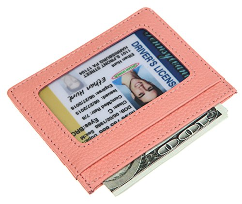 DKER Handmade Genuine Leather Unisex Slim Super Thin Card Holder With ID Card Window - Pink