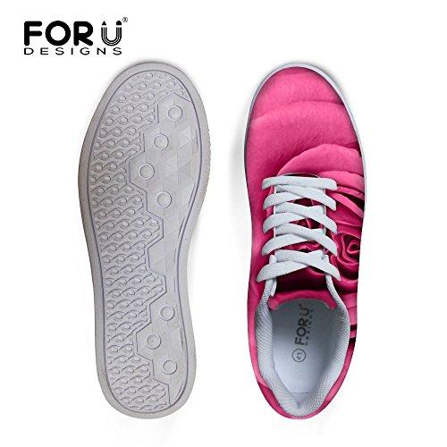 Per Te Disegni Moda Rosa Floreale Stampa Casual Donne Scarpe Da Skateboard Sneakers Rose-6
