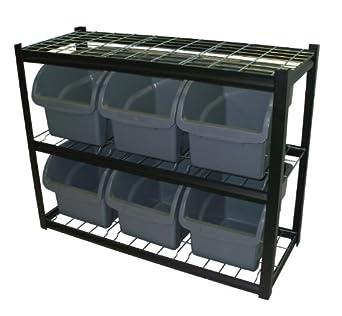 Amazon.com: Sandusky Lee IBU421633 Black Steel Bin Shelving Unit, 6 ...