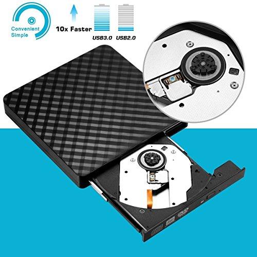 External DVD Drive, Fellee Portable Slim USB 3.0 DVD/CD Re-writer Burner Superdrive, High Speed Data Transfer Optical +/-RW Drive (High speed USB 3.0) by Fellee (Image #1)