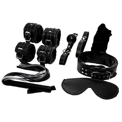 Hunzed Adult Handcuffs Fantasy Cosplay Bandage Fetish Restraint 7PCS/Set (Black)