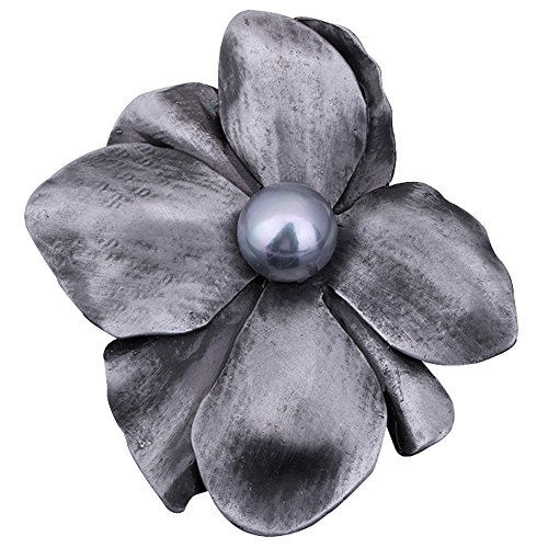Pin Brooch Stylish (autulet Women's Fashion Flower Brooch Pin Floriated Stylish Big Retro Alloy with Pearl Brooches Gift Wedding)