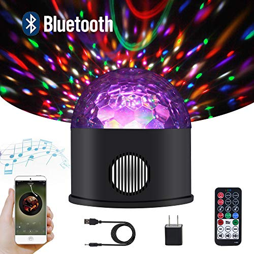 ll Party Lights Bluetooth Speaker Sound Activated USB Powered Portable 9 Colors DJ Strobe Light Remote Control for Kids Gifts Wedding Birthday Bar Halloween Christmas Camping ()