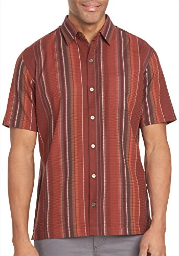 (Van Heusen Men's Textured Cotton Rayon Short Sleeve Shirt, Deep Burgundy Oxblood, 2X-Large)