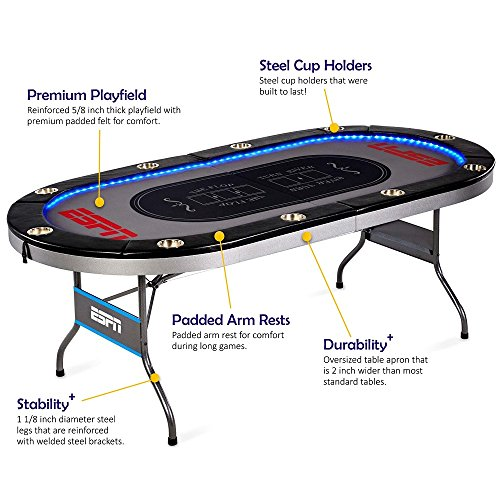 (ESPN 10 Player Premium Poker Table With LED Lights)