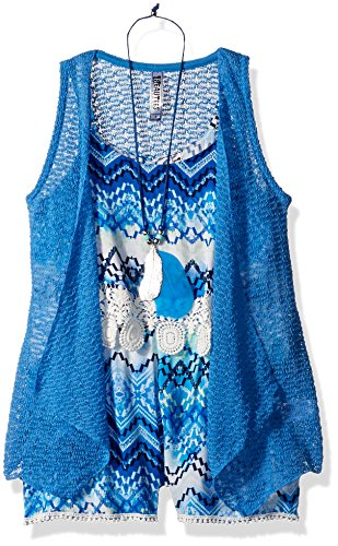 Beautees Big Girls' 2 Piece Sleeveless Printed Romper with Duster, Blue, 12 by Beautees