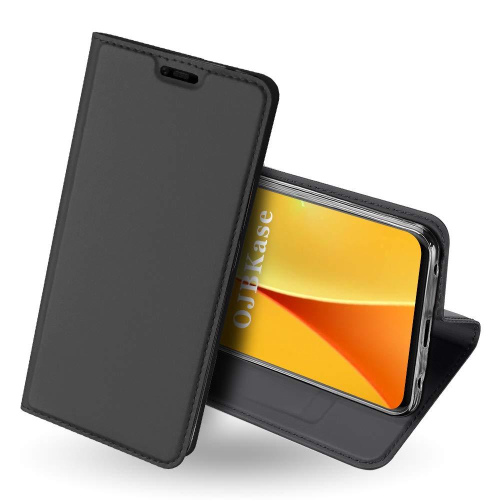 Coque Huawei Mate 20 Pro,OJBKase Housse en cuir PU Portefeuille de Protection, Emplacements Cartes avec Fonction Support et Languette Magné tique coque TPU Protection pour Huawei Mate 20 Pro(Gris Noir) OJBK-DD-HWP8L-1030021