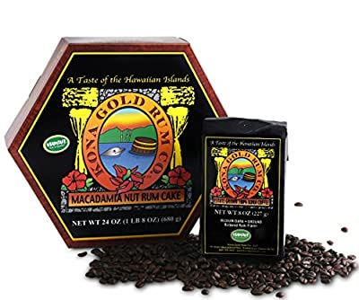Kona Gold Rum Co. 24 oz. Macadamia Nut Rum Cake and 8 oz. Butter Rum Ground Coffee Bundle