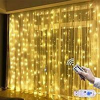 Cortina de Luces USB 3m * 3m 300 LED Resistente al Agua con 8 Modos de Luz, EVILTO Cortina Luminosa de Lamparitas LED para Navidad, Fiesta, Cumpleaños, Día de San Valentín, Boda, Jardín, Blanco Cálido