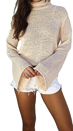 Imily Bela Women's Back Lace Up Openwork Turtleneck Sweaters Pullover 30%OFF