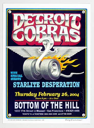 Detroit Cobras Poster 2004 Feb 26 Bottom of the Hill SF Gary Grimshaw signed
