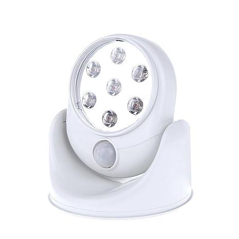 HOOMYA 6V 7 LED Movimiento inalámbrico activado lámpara de la luz del sensor 360 grados Lámparas