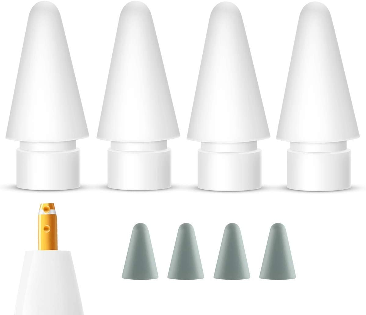 Pencil Tips Replacement for Apple Pencil 1st & 2nd Generation(4 Pack), Compatible with iPencil iPad Pro Nibs and Tip Protector Cover (4 Pack)