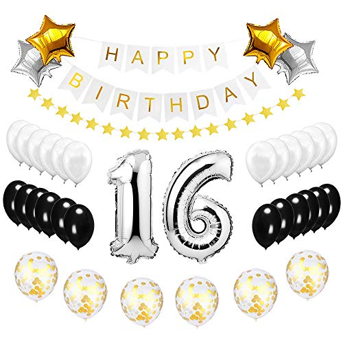 Best Happy to 16th Birthday Balloons Set - High Quality Birthday Theme Decorations for Sweet 16 Years Old Party Supplies Silver Black Gold