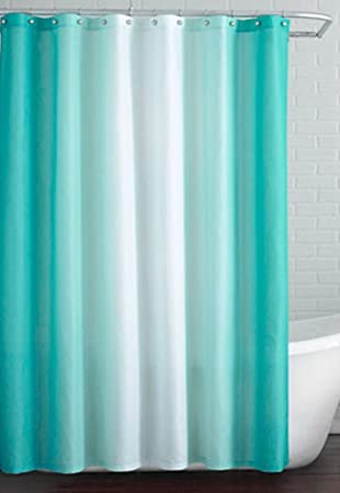 Skipper Ombre PVC Shower Curtain - 70x78, Aqua and White
