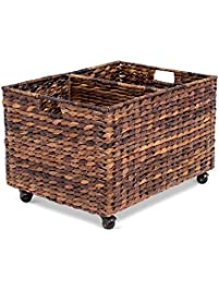 Birdrock Home Abaca Rolling Storage And Recycling Bin Divided Decorative  Cart Kitchen Paper With Recycling Containers For Home
