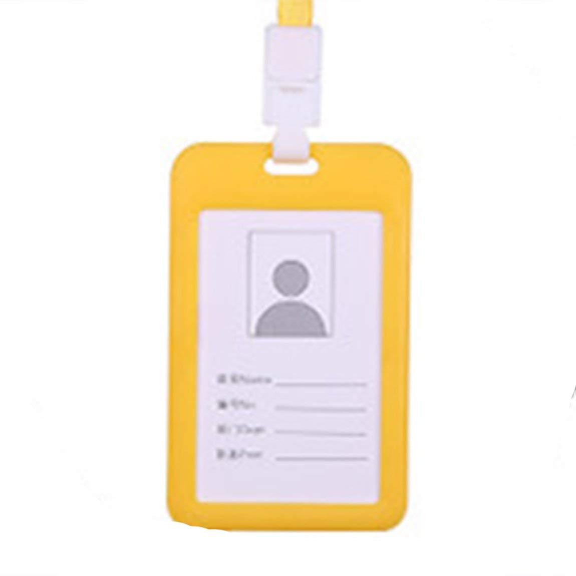 verde Porta badge Portadocumenti portatile in plastica trasparente con doppio supporto per tesserino identificativo Nome Tag Ciondolo per cordino