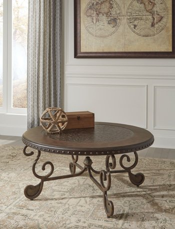 World Cocktail Table (Ashley Furniture Signature Design - Rafferty Coffee Table - Cocktail Height - Round - Dark Brown)