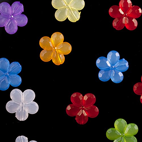 Faceted Flower Mix Color Jelly Acrylic Beads 20mm Sold per pkg of 100Gram/108pcs ()