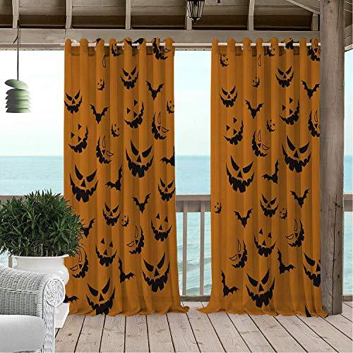 Linhomedecor Outdoor Waterproof Curtain Halloween Black Evil Bat 9 doorways Grommets Adjustable Curtain 120 by 84 inch -