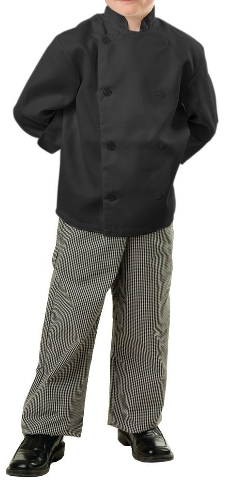 Childrens Classic Long Sleeve Chef Coat, KL, Black