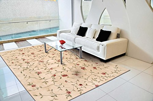 Nourison Julian (JL22) Light Gold Round Area Rug, 6-Feet by 6-Feet  (6' x 6')
