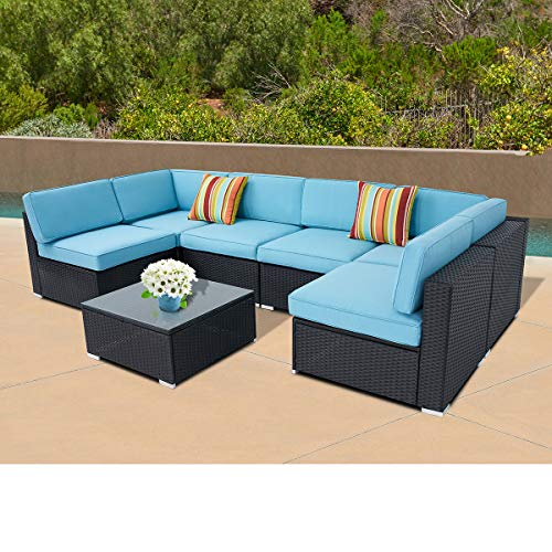 SUNCROWN Outdoor Furniture 7-Piece Patio Sofa Set Black Wicker, Blue Seat Cushions with YKK Zippers and Modern Glass Coffee Table, Waterproof Cover