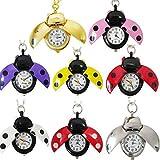 Eachbid Smart applied New Women Lady Girls Ladybug Beads Wing Open Quartz Chain Necklace Pocket Watch