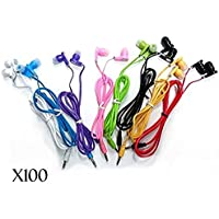 JustJamz 3.5mm Stereo In-Ear Earbud Headphones Earphones Mixed Colors - 100 Pack