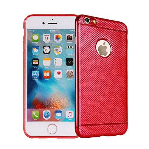 Trendy Fine Edge (iPhone 7 plus Case, [Carbon Fiber Patterns] Scratch Resistant Ultra Thin [ Perfect Slim Fit ] Thinnest [Light Weight] Soft Touch Flexible Protect Case Back Cover Bumper (red for iphone7 plus))