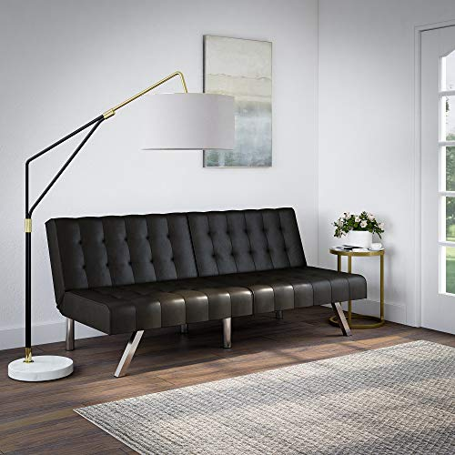 Mainstays Morgan Tufted Convertible Modern Euro Futon, Multiple Finishes-Black Faux Leather