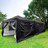 Cheap Quictent Upgraded Privacy 10×20 EZ Pop Up Canopy Tent Instant Folding Party Tent with Sides and Roller Bag Black