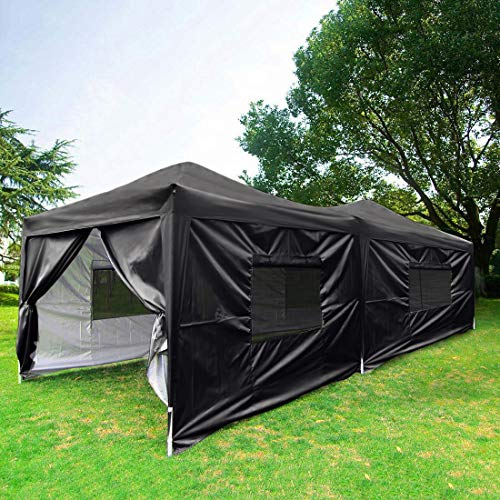 Quictent Upgraded Privacy 10x20 ft EZ Pop Up Canopy Tent Party Tent Outdoor Gazebo with Sidewalls 100% Waterproof-6 Colors (Black)