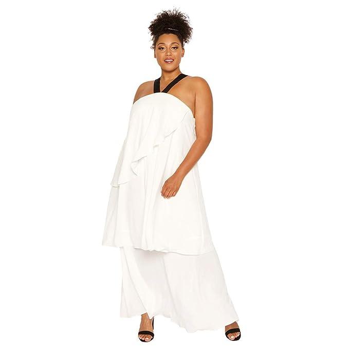 Astra Signature Plus Size Halter White Dress,Women Sleeveless Strap Tiered  Dress Trapeze Dress