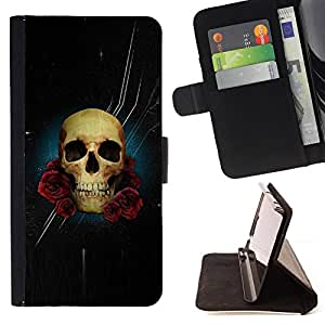 BullDog Case - FOR/Apple Iphone 5 / 5S / - / SKULL ROSE NIGHT SPACE DEATH STARS /- Monedero de cuero de la PU Llevar cubierta de la caja con el ID Credit Card Slots Flip funda de cuer