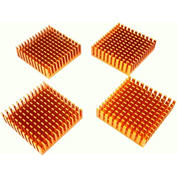 Easycargo 4pcs 40mm Heatsink 40mm x 40mm + 3M 8810 Thermal Conductive Adhesive Tape, Cooler Heat Sink for Cooling 3D Printers, TEC1-12706 Thermoelectric Peltier Cooler (4pcs 40x40x11mm Goldtone)