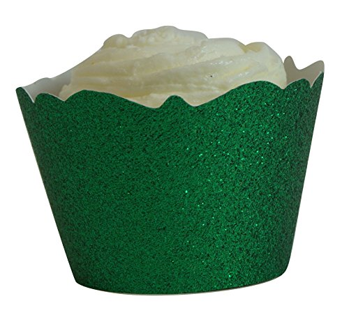 All About Details Green Glitter Cupcake Wrappers, Set of 12 -