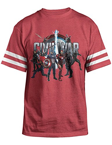 Marvel Captain America Civil War Characters Mens Red Heather T-shirt XL (Mens Red T Shirt Xl)