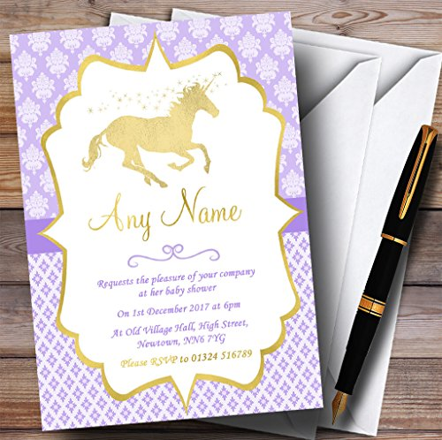 Purple & Gold Magical Unicorn Invitations Baby Shower Invitations