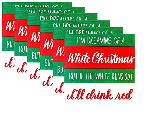 Funny Christmas Cocktail/Beverage Wine Lover Napkins - 2 Pack Bundle - 40 Napkins Total