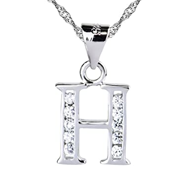 Sojewe Women 925 Sterling Silver Alphabet Letter Y Necklace Inlay Cubic Zirconia Pendant Platinum Plated Chain 40-45cm/15.7-17.7in IrCGIg