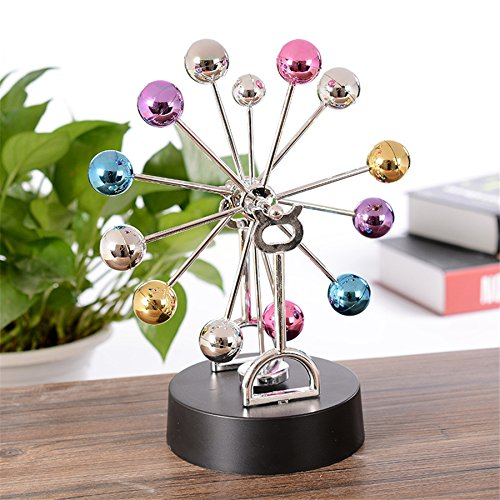 Perpetual Motion Toy Colorful Wheel Metal Crafts electromagnetic pendulum perpetual instrument Model Figurine Home Decoration Lover Gift Miniatures Kangsanli