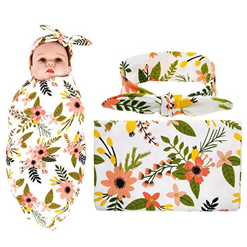 Newborn Receiving Blanket Headband Set Flower Printing Photography Prop Swaddle Baby Receiving Blankets for Boys(Floral)