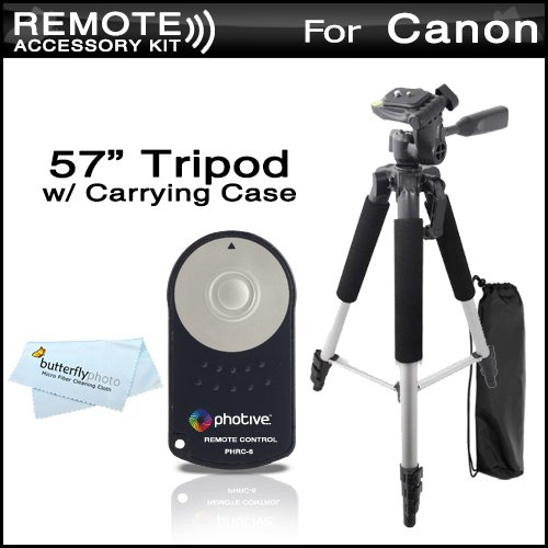 Photive RC-6 Wireless Shutter Release Remote Control For Canon Digital Rebel T4i, T3i, T2i, T1i, XT, Xti, 5D, 7D, 70D DSLR (Canon RC-5 RC-6 Replacement) + 57 Full Tripod With Deluxe Soft Carrying Case + MicroFiber Cleaning Cloth from ButterflyPhoto