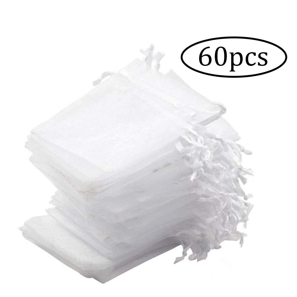 Blanc ZYCX123 60pcs-Organza Pouches Bijoux Translucide durables Pouches Organza Party Sacs de Mariage Favor Cadeaux