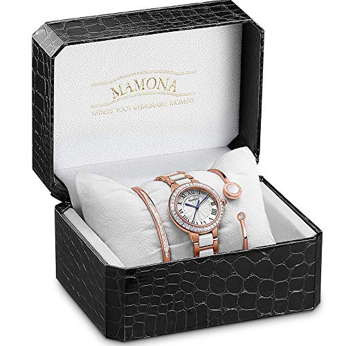 Accented Jewelry Crystal Set - MAMONA Women's Watch Bracelet Gift Set Crystal Accented Ceramic/Stainless Steel L68008GT (Rose Gold)